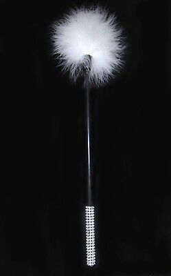 New White Feather Fluffy Tickler Whip Crop Adult  Diamante Bling Sex Toy Bondage