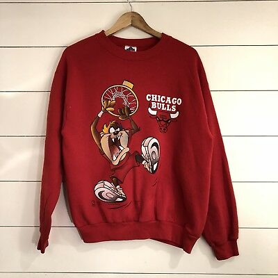 Vintage 90s 1995 Looney Tunes TAZ Chicago Bulls Sweater Mens Size Large