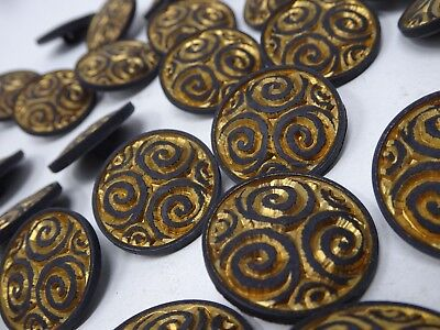 Vintage Ornate Shank Buttons Spiral Swirl Bright Copper 25mm Lot of 10 B112-10