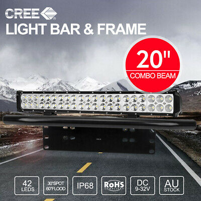 "20 inch CREE LED Light Bar SPOT & FLOOD / 23"" Black Number Plate Frame"