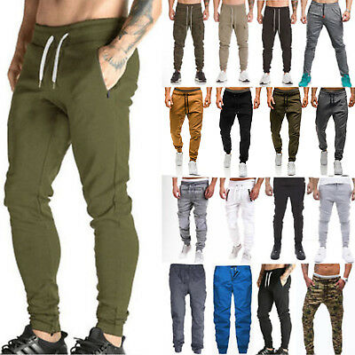 Mens Cargo Army Chino Stretch Pants Fitness Sweatpants Sport Running Trousers