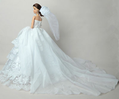 White Fashion Party Dress/Wedding Clothes/Gown+Veil For 11.5in.Doll Y601