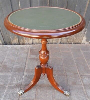 Tri Leg Wine/Side Table with Claw Feet and Leather Top.