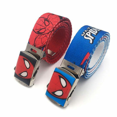 Fashion Kids Adjustable Belts Spider-man Buckle Cotton Blend for Boys Grils Red