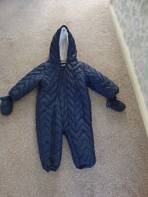 7398750ce Next Baby Navy Blue Snowsuit Pramsuit Quilted 18-24 Months Blue & White  Lining