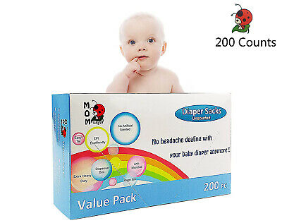 Easy-Tie 200 Counts Baby Disposable Diaper Sacks/Bags Unscented Tie Handle Bags