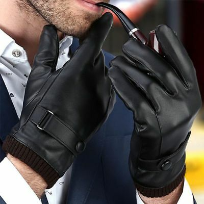 Men's Leatner Gloves Winter Gloves Driving Warm Windproof Touch Screen Gloves