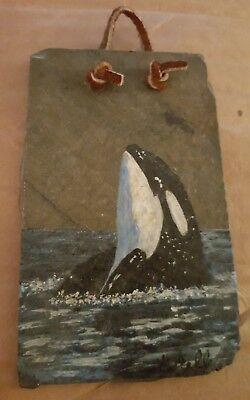Small Slate Painted Breaching Orca Whale