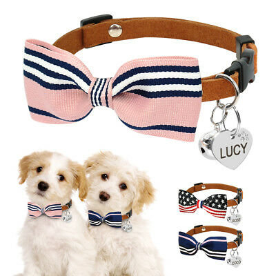 Soft Leather Dog Cat Collars Pet Puppy Bow Tie Necktie with Personalized Tags