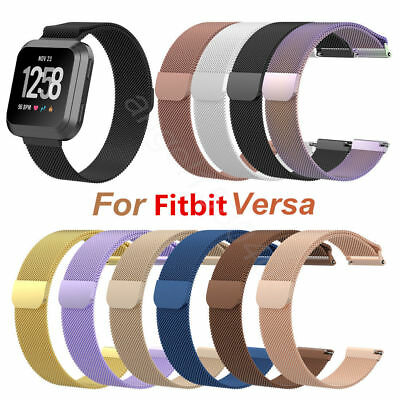 Large/Small Milanese Loop Stainless Steel Watch Band Strap For Fitbit Versa