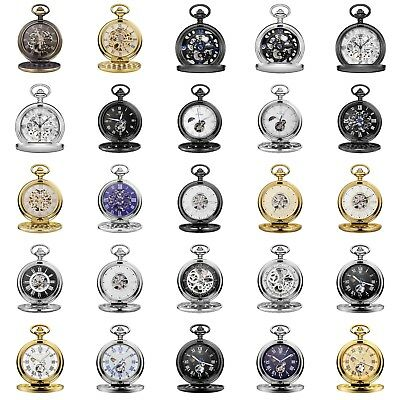 Men's Antique Gold Silver Bronze Black Pocket Watch Time Piece Suit Wedding Gift
