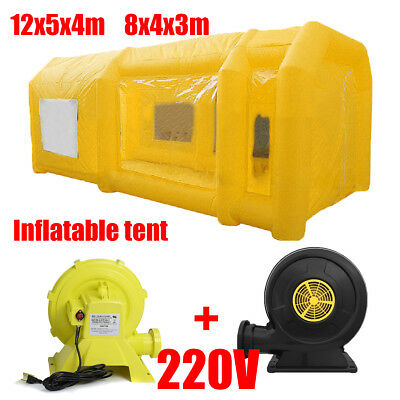 8M/12M Portable Inflatable Tent Paint Car Spray Booth Yellow With 2 Air Blowers