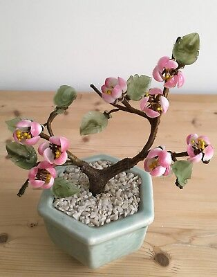 Beautiful Vintage Japanese Jade Glass Bonsai Cherry Blossom Tree Ornament
