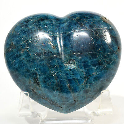 71mm Blue Apatite Puffy Heart Natural Sparkling Quartz Mineral Stone Madagascar