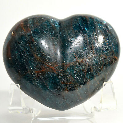 "2.4"" Deep Blue Apatite Puffy Heart Natural Quartz Mineral Palm Stone Madagascar"