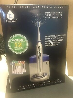 Pursonic S450 Deluxe Sonic Toothbrush With 12 Brush Heads and UV Sanitizing Func