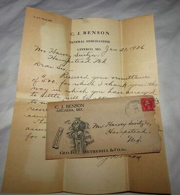1926 C.j. Benson Arcadia Md Atlas Paint Cover The Earth Letter Ad