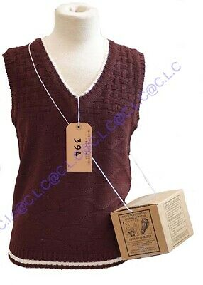 1940's-Wartime-History-School KNITTED TANK TOP, GAS MASK BOX & LUGGAGE LABEL SET