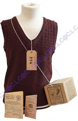 1940's-Wartime-History KNITTED TANK TOP-GAS MASK BOX-LABEL-RATION BOOK-ID CARD