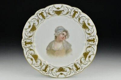 Early Sevres Porcelain Hand Painted Portrait Plate Signed E. Sieffert de Sevres