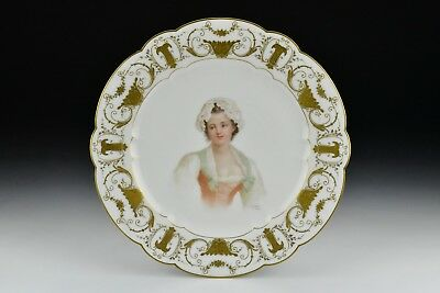 Early Sevres Porcelain Hand Painted Portrait Plate  Signed E Sieffert de Sevres