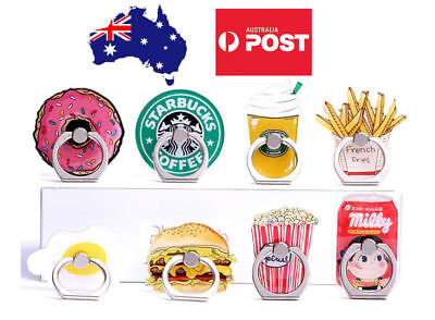 Cute Finger Ring Holder Pop Stand Grip iPhone Samsung Phone Socket Burger Fries