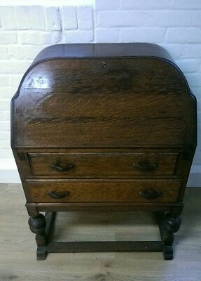 REDUCED* Antique Secretaire desk work table compact stationary tidy with key