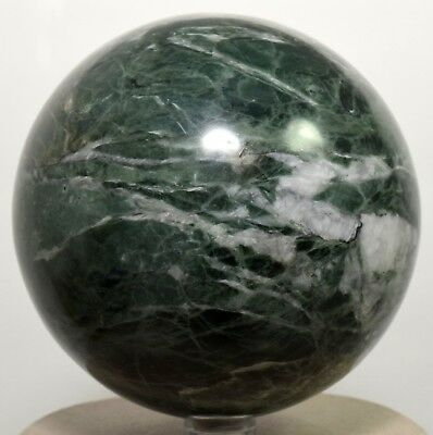 "3.4"" Rich Green Apatite w/ Calcite Sphere Polished Gemstone Crystal Ball - Peru"