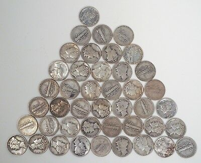 Lot of 43 Mercury Dimes mixed quality 90% Silver mixed dates