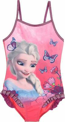 Girls Pink Disney Frozen Swimsuit Swimming Costume  Swim Suit Beach Wear Age 2-6