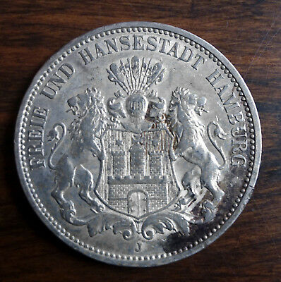 German States, Hamburg Free City 1910 J 3 Mark VF+ Silver Coin