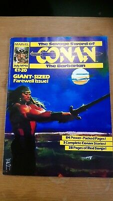 The SAVAGE SWORD of CONAN the BARBARIAN Marvel UK Final Issue No 93 1985 FN/NM