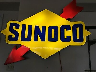 """48"""" x 27"""" inch SUNOCO FUEL GAS MOTOR OIL PUMP STATION LIGHTED SIGN"""