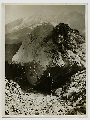 Catastrophe des Grisons, 10 avril 1939 : rocher meurtrier - Photo Suisse Vintage
