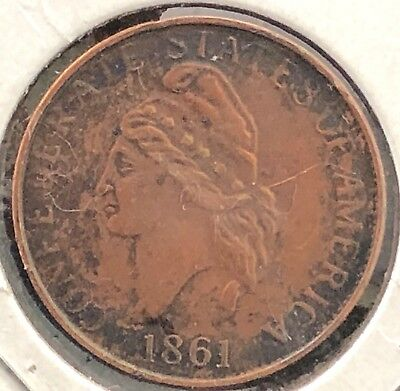 """1861 Confederate Cent Not """"copy"""" Marked"""