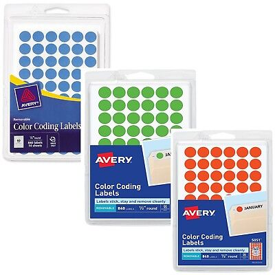 "Pack of 840 Removable Self-Adhesive Color Coding Labels 1/2"" Round Dot Sticker"