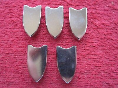 "5 VINTAGE LEATHER or CLOTH BELT END TIPS, SMOOTH, NICKEL PLATED, 5/8"" , NOS, USA"