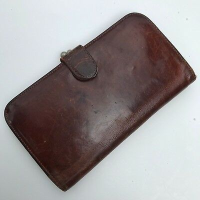 Vintage COACH Wallet Brown Leather Kiss Clasp Coin Purse No Reserve!