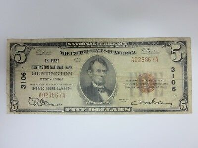 1929 $5 The First Huntington National Bank West Virginia Charter 3106 WV