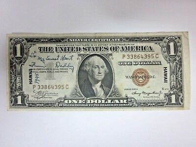 1935A Hawaii $1 Silver Certificate Love Token To My Sweet Heart From Daddy 1945