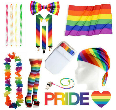 Gay Pride Fancy Dress Accessories Rainbow Flag Paint Colourful LGBT Parade lot