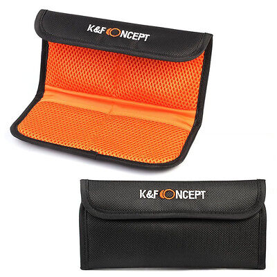 K&F Concept 4-Pocket Camera Filter Holder Case Pouch for All 49mm-77 mm Filter