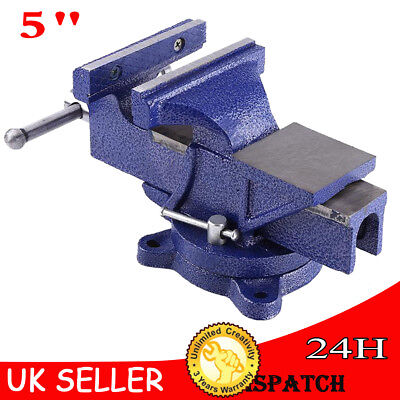 """Blue Cast Iron Heavy Duty Vise Clamp Milling Metalworking Vice (5"""") Work Bench"""
