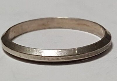 Vintage 800 Silver Band Ring With Beveled Sides Size 5.5 - Solid .800 Silver