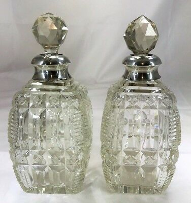 Pair of Art Deco Silver Topped Cut Glass Scent, Perfume Bottles. Chester 1921