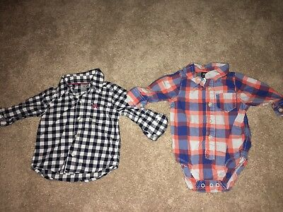 Baby Boy Lot Of 2 Button Down Long Sleeve Plaid Shirts 9 Months