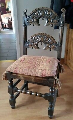2 Carved Oak Throne Chairs with Cushions