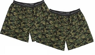 Hanes Men's TAGLESS Boxers Underwear with Exposed Waistband 2-Pack Camo Prints
