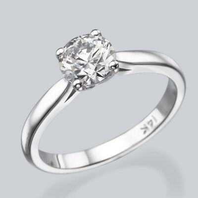 2/3 CT D/VS2 Solitaire Round Diamond Engagement Ring Enhanced 14K White Gold
