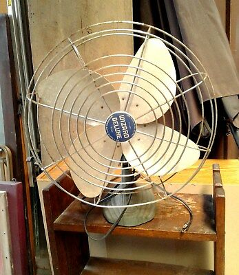 "Electric Fan WIZARD DELUXE 16"" 6J2410 Western Auto Art Deco Style Base MCM VTG"